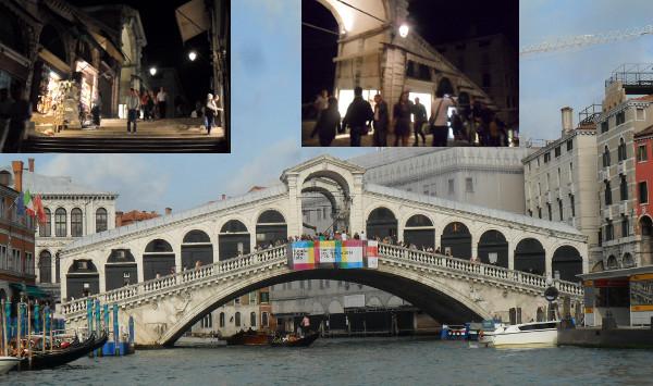 Ponte Rialto (em detalhe, cenas do comércio da ponte a noite). Estação do vaporetto à direita. Fotos: ViniRoger.