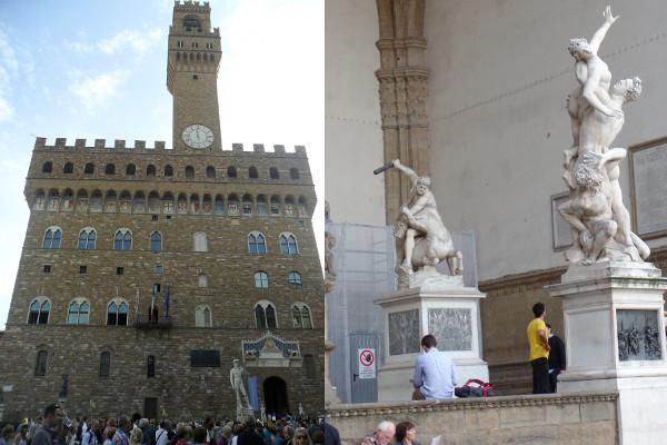 Palazzo Vecchio e esculturas expostas na Piazza della Signora. Fotos: ViniRoger.