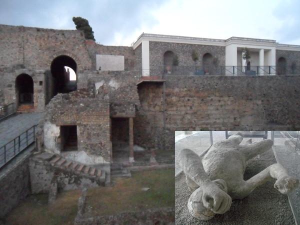 Ruínas de Pompeia (scavi di pompei) e molde em gesso de vítima da erupção. Fotos: ViniRoger e Rodrigo M. Guerra (detalhe).