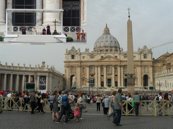 Basílica de São Pedro - no dia estava ocorrendo a Audiência geral, celebrada pelo Papa Francisco (no detalhe). Fotos: ViniRoger.