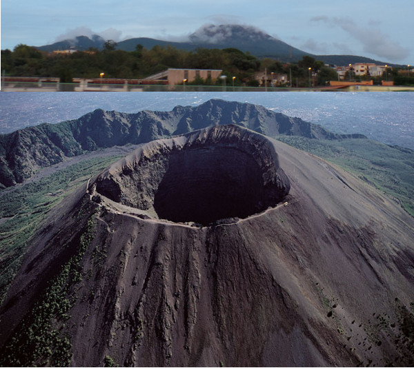 Monte Vesúvio vista da estrada e de cima. Foto: ViniRoger (acima) e  incampania.com