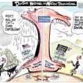 """Charge ilustrando o dinheiro dos impostos sendo repassados para grandes empresas não """"irem à falência"""" e sendo enviados aos paraísos financeiros."""