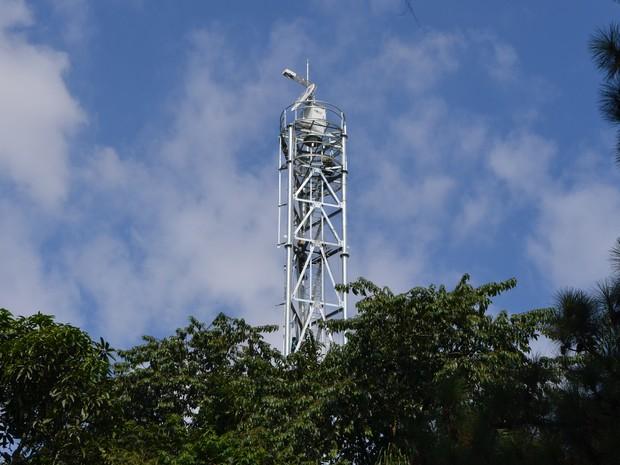 Radar Meteorológico instalado no Parque Cientec em 2016. Foto: USP/Divulgação