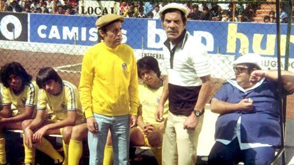 """Chespirito, Ramon Valdez e Edgar Vivar no filme """"El Chanfle"""" - sim, esse era o filme que viam no cinema, não era o """"filmes do Pelé"""""""