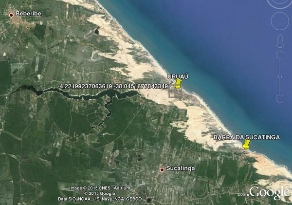 Imagem de satélite no programa Google Earth mostrando as localidades listadas acima