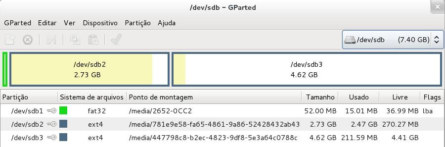 """Janela do programa GParted visualizando as partições do cartão criado e dados copiados via comando """"dd"""""""