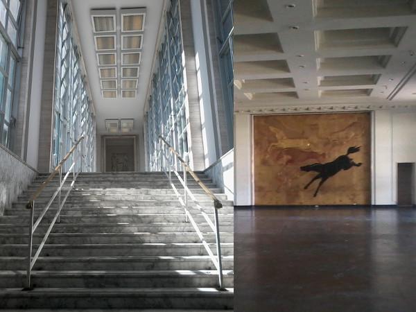 Corredor suspenso da entrada principal (acesso à tribuna de honra, salões nobres e escada para o piso inferior, onde são realizadas as apostas) e painéis em alto relevo de um dos dois salões nobre. Foto: ViniRoger