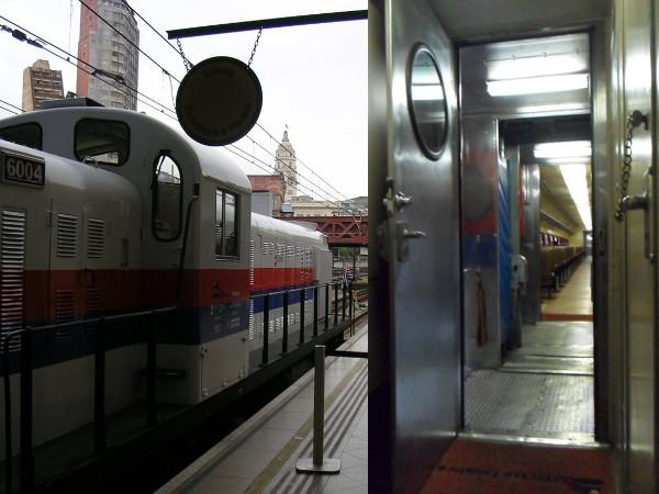 Locomotiva a diesel e interior de vagões utilizados no Expresso Turístico - detalhe para a bandeira de São Paulo na frente da locomotiva, pois era o dia de inauguração dos passeios para a população, sendo a primeira viagem realizada para Jundiaí; torre da estação Júlio Prestes ao fundo. Foto: ViniRoger.