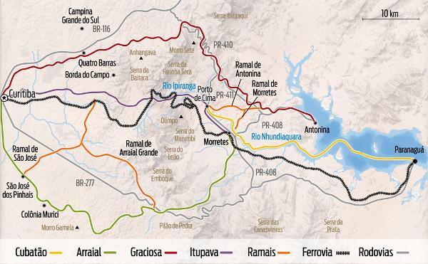"""Mapa das estradas da região Curitiba - Paranaguá. Fonte: livro """"As montanhas do Marumbi"""" dentro do especial """"Ferrovia 130 anos""""."""