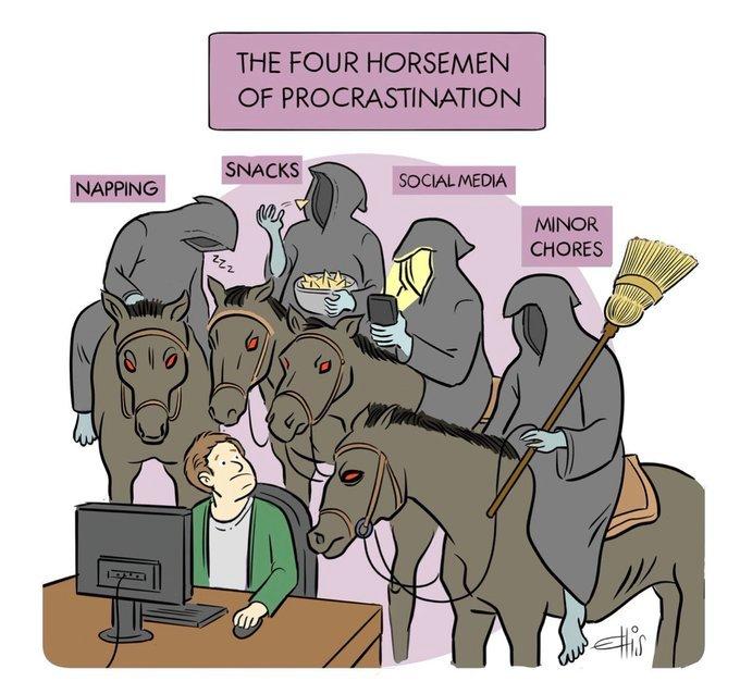Os quatro cavaleiros da procrastinação, por Ellis Rosen. Fonte: wired/cartooncollections