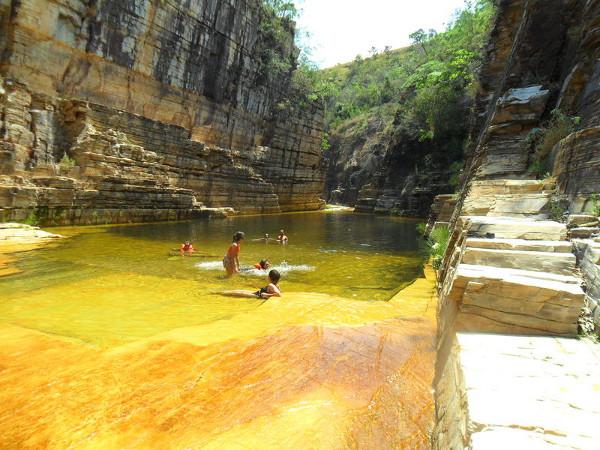 Canyon Cascata durante seca, com piscinas naturais. Foto: ViniRoger.
