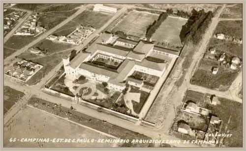 Foto aérea do SIC. Foto: Arquivo do Seminário de Filosofia - Arquidiocese de Campinas.