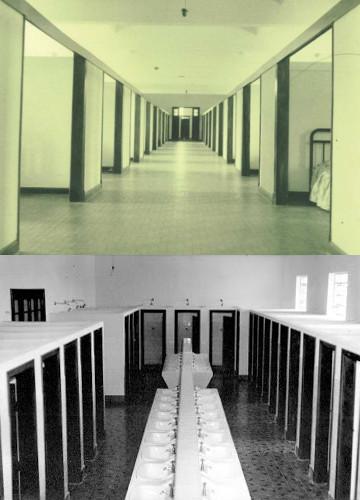 Dormitórios e banheiros. Fotos: Arquivo do Seminário de Filosofia - Arquidiocese de Campinas.