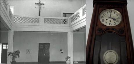 Hall e relógio de pêndulo. Fotos: Arquivo do Seminário de Filosofia - Arquidiocese de Campinas - e Arquivo ex-SIC.