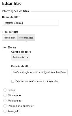 Edição de filtro do Google Analytics