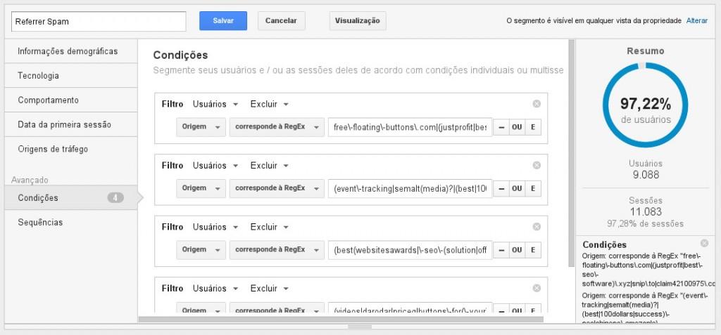 Edição de filtro em segmento no Google Analytics - note que foram excluídos quase 3% dos dados, referentes a spams