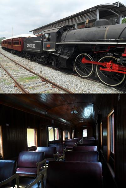 Trem turístico em Guararema com interior de vagão. Fotos: ViniRoger
