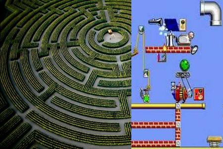"""Labirinto """"Reignac-Sur-Indre"""" (França) e The Incredible Machine, jogo da Sierra de 1992."""