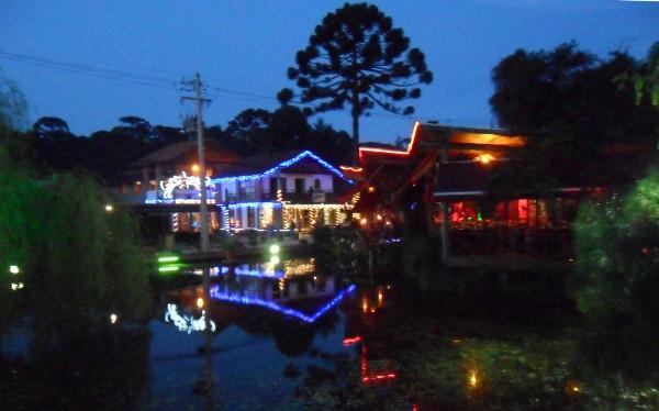 Lago com sapos na Avenida Monte Verde decorada para o natal. Foto: ViniRoger.