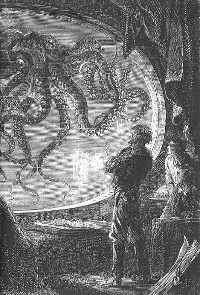 """C'était un calmar de dimensions colossales - Alphonse de Neuville e Édouard Riou (ilustração para o livro """"Vinte mil léguas submarinas"""")"""