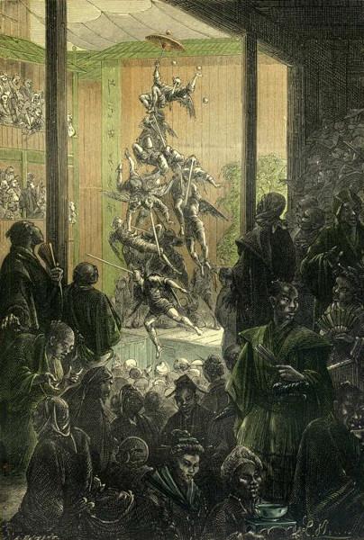 "Le monument s'écroula comme un château de cartes - Alphonse de Neuville e Léon Benett (ilustração para o livro ""A volta ao mundo em oitenta dias"")"