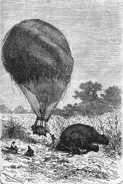 """Le croquis du docteur Fergusson - Édouard Riou e Henri de Montaut (ilustração para o livro """"Cinco semanas em um balão"""")"""