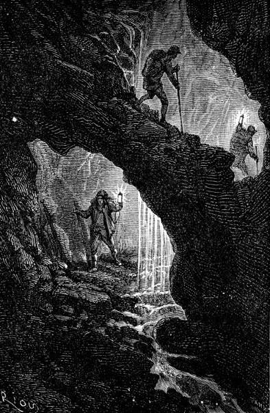 """Nous descendions une sorte de vis tournante - Édouard Riou (ilustração para o livro """"Viagem ao centro da terra"""")"""