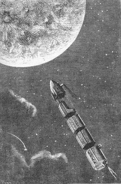 """Le train de projectiles pour la Lune - Henri de Montaut (ilustração para o livro """"Da Terra à Lua"""")"""