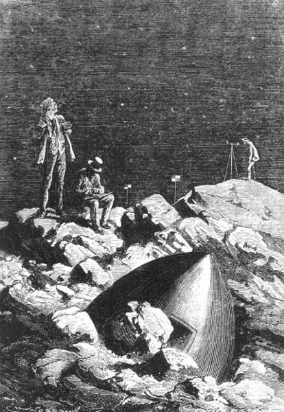 """Il me semble que je les vois - Émile-Antoine Bayard e Alphonse de Neuville (ilustração para o livro """"À volta da Lua"""")"""