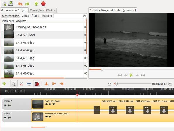 Tela com exemplo de edição de vídeo no OpenShot
