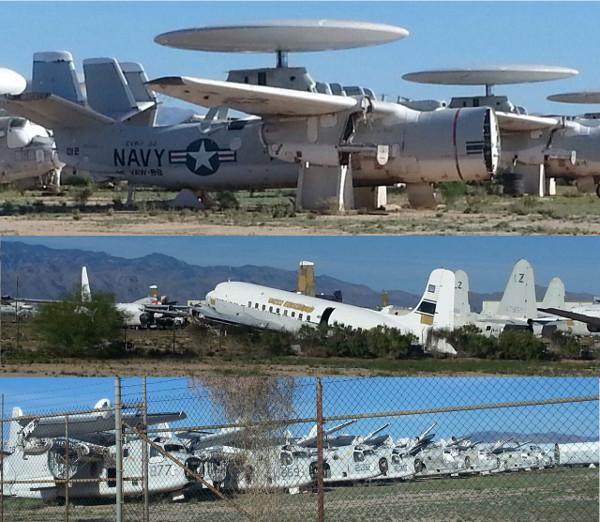 Aviões militares e civis ocupando o AMARG em Tucson-Arizona. Fotos: Carlos Morales.
