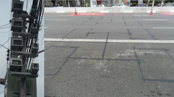 Câmeras e cortes no asfalto com bobinas (um conjunto para cada pista) em São Paulo/SP. Fotos: ViniRoger.