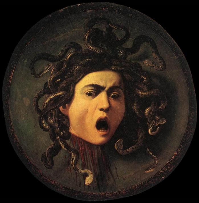 Cabeça de Medusa (1599). Caravaggio (1571–1610). Óleo sobre tela aplicada sobre disco de madeira - Galeria Uffi zi (Florença)