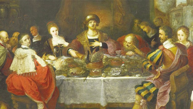 A Mesa do Rei Midas, por Frans Francken II, o Jovem (1561-1642). Pintura em óleo.