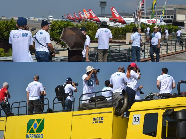 Spotters em CGH no terraço sobre o Pavilhão de Autoridades e sobre o caminhão dos bombeiros. Fotos: Vitor C. Pinto