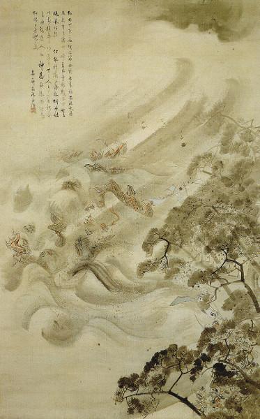 A frota Mongol destruída por um tufão, em tinta e água no papel, por Kikuchi Yosai (1847) - Tokyo National Museum