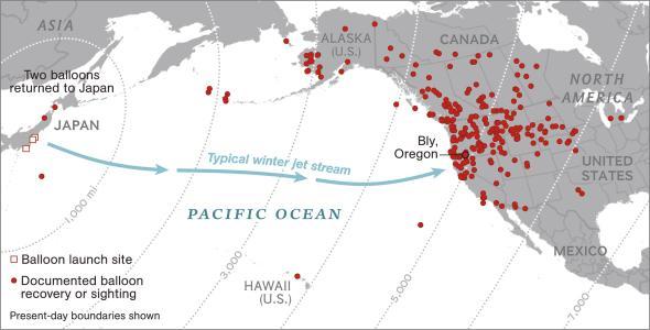 Locais documentados de queda de balões que foram do Japão para os Estados Unidos. Fonte: National Geographic.