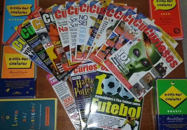 Exemplares da Revista dos Curiosos e edições antigas da série de livros Guia dos Curiosos. Foto: ViniRoger