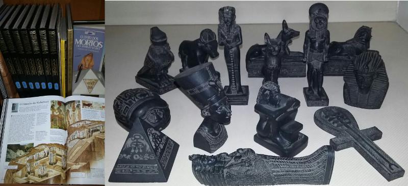 Exemplares encadernados e miniaturas da coleção Egitomania. Foto: ViniRoger