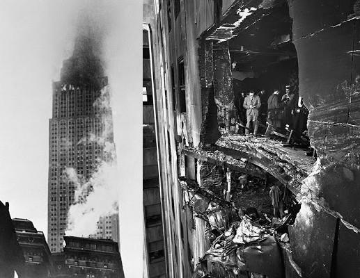 Resultados da colisão do B-25 com o Empire State Building