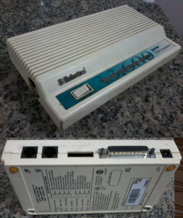External Fax Modem 33.6k da US RObotics de 1995. Foto: ViniRoger