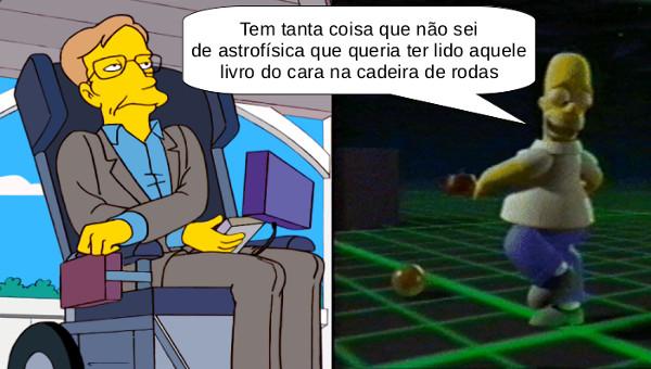 """Stephen Hawking no desenho """"Os Simpsons"""" e Homer preso na terceira dimensão"""