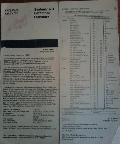 Sumário de referência do IBM System/370. Foto: ViniRoger