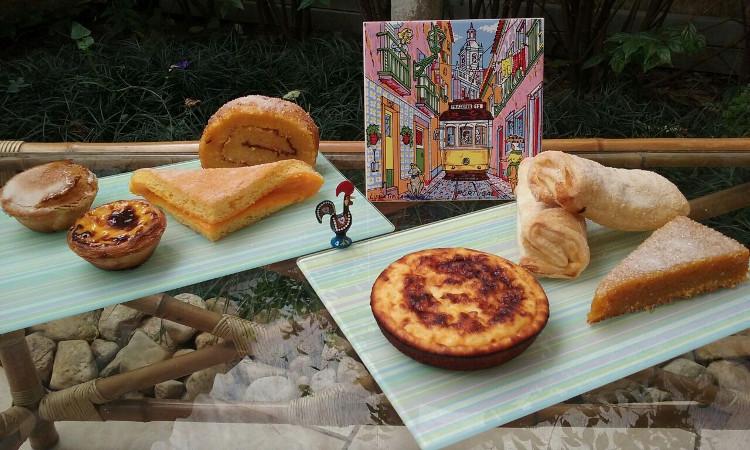 Pastel de São Bento, pastel de nata, guardanapo, torta de laranja, tigelada, travesseiro de Sintra (2) e toucinho do céu (da esq. pra dir.). Foto: ViniRoger