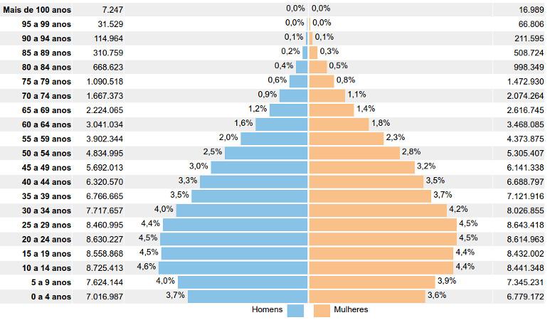 Distribuição da população por sexo, segundo os grupos de idade. Fonte: http://censo2010.ibge.gov.br/sinopse/webservice/frm_piramide.php