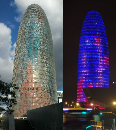 Torre Agbar de dia e de noite. Foto: ViniRoger