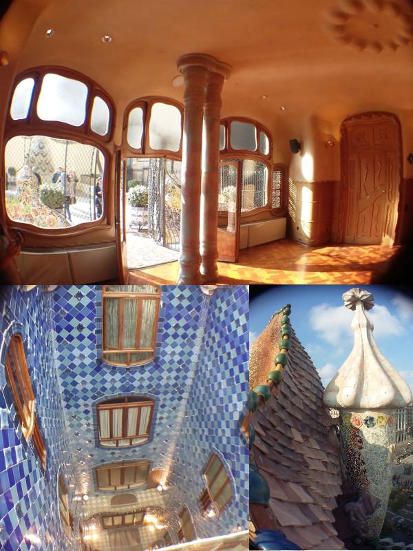 Interior da Casa Batlló: fundos, vão ao lado da escada e torre da fachada. Fotos: ViniRoger