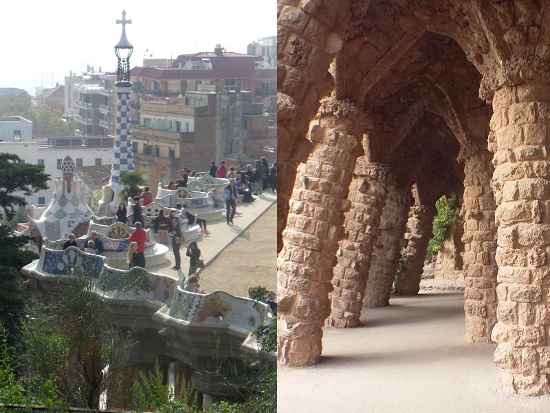 Laje do Parc Guell e colunas tortas de pedras. Fotos: ViniRoger