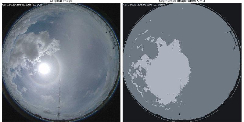 Imagem all sky original e segmentada em 3 cores