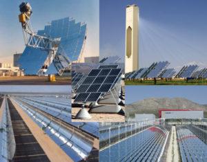 Diferentes tecnologias de energia solar: fotovoltaica (centro), Disco parabólico, Torer solar, Refletores lineares de Fresnel e Coletores cilindro-parabólicos (sentido horário, começando da esquerda superior). Fonte: Wikipedia